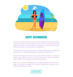 Hot summer web poster tropical beach and woman vector