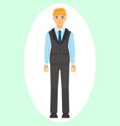 Icon businessman in coat vest and trousers vector