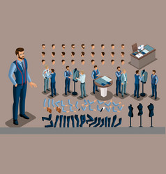 Isometric vintage background a tailor man a set vector