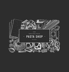 italian pasta design template hand drawn food on vector image