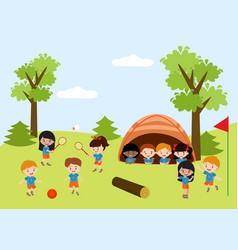 kids summer camp education advertising flyer vector image