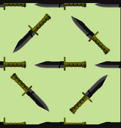 Kitchen or army knife seamless pattern steel sharp vector