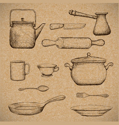 kitchenware doodle image vector image