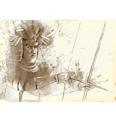 Kyudo - an hand drawn vector