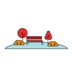 landscape park bench bushes nature vector image