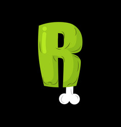 Letter r zombie font monster alphabet bones and vector