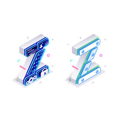 Letters z with social networks elements vector