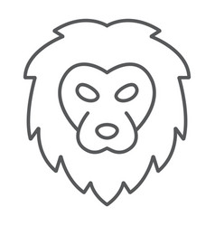 lion thin line icon animal and zoo cat sign vector image