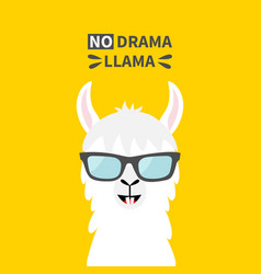 llama alpaca animal face wearing sun glasses no vector image