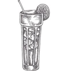 Long island cocktail hand drawn vector