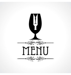 menu card with wine glass and bottle vector image vector image