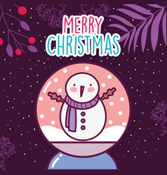 merry christmas celebration snowman in crystal vector image