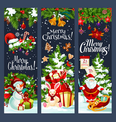 merry christmas santa gifts tree banners vector image