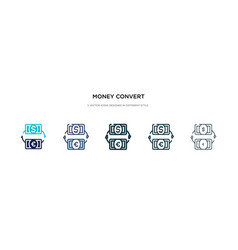 Money convert icon in different style two vector
