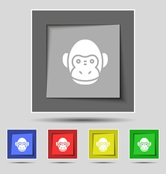 Monkey icon sign on original five colored buttons vector