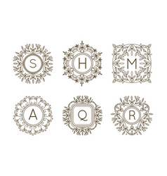 Monogram logo and text badge emblem line art vector