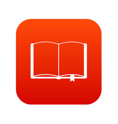 Open book with bookmark icon digital red vector