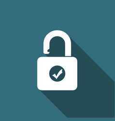open padlock and check mark icon with long shadow vector image