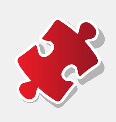 puzzle piece sign new year reddish icon vector image
