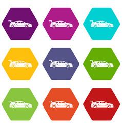 rally racing car icon set color hexahedron vector image