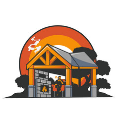 Rest house in forest vector