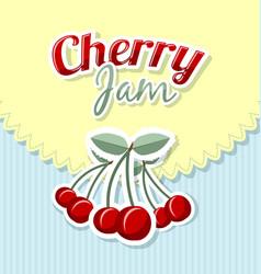 Retro cherry jam label vector