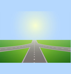 Road leading to horizon and sunlit sky vector
