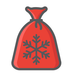 santa bag filled outline icon new year christmas vector image