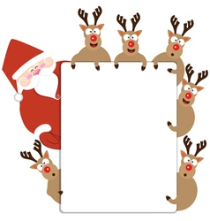 Santa claus and Reindeer present Christmas card vector image