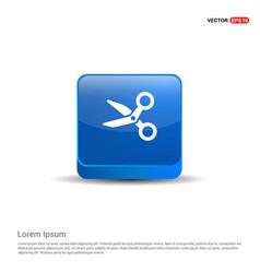 scissors icon - 3d blue button vector image