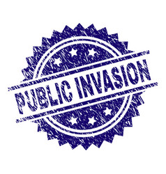 Scratched textured public invasion stamp seal vector
