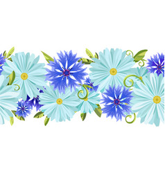 seamless background with daisies and cornflowers vector image