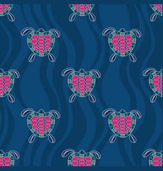 Seamless pattern turtles australian art vector