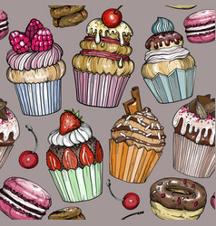 Seamless pattern with cupcakes dessert bakery vector