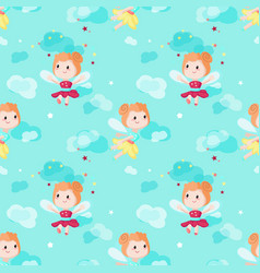 Seamless pattern with cute little fairies vector