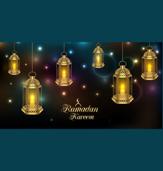 Set arabic lamps for holy month muslim vector