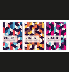 set isometric abstract covers posters vector image
