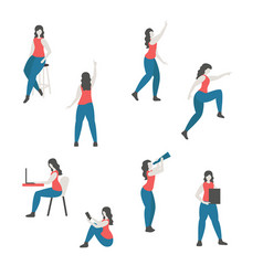 set of a woman in different poses set of a woman vector image