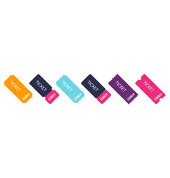 set of colorful ticket blank template tickets vector image