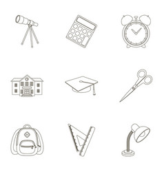 Set of pictures about the school study training vector