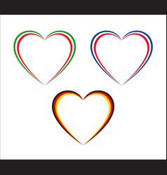 Set of three hearts in italian french and german vector