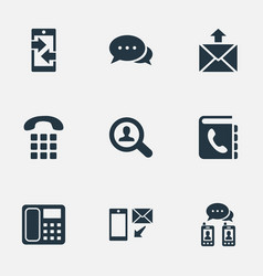 Set simple contact icons vector