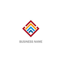 square line shape level business logo vector image