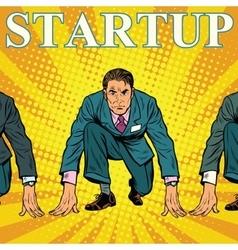 Startup retro businessman on starting line vector