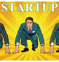 Startup retro businessman on the starting line vector image
