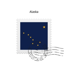 State of Alaska flag postage stamp vector