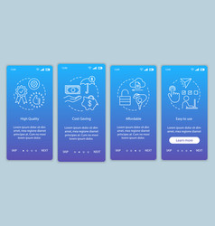 Strategic advantages onboarding mobile app page vector