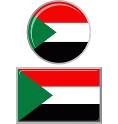 Sudanese round and square icon flag vector image