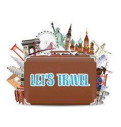 suitcase travel bag with world travel landmark vector image