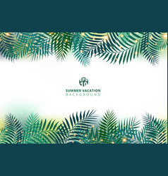 summer time vacation and green palm leaves with vector image